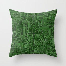 Circuit Board // Light on Dark Green Throw Pillow