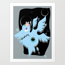 angel with cat for brains Art Print