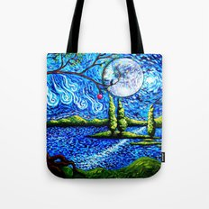 cat starry night Tote Bag