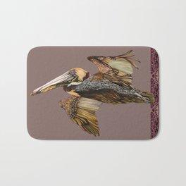Brown Pelican Flight with Vintage Burgundy Stripe Bath Mat