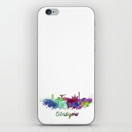 Glasgow skyline in watercolor iPhone Skin