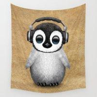 headphones Wall Tapestries featuring Cute Baby Penguin Dj Wearing Headphones  by Jeff Bartels