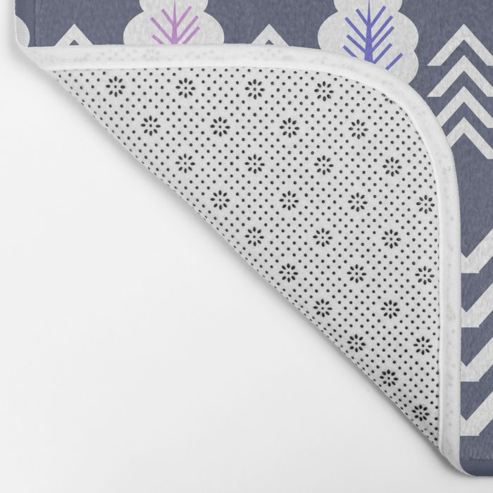 Trees and chevron in white Bath Mat