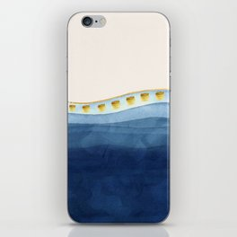 Blue waves and gold strokes iPhone Skin