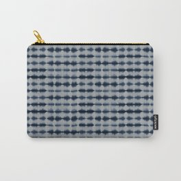 Shibori Frequency Horizontal Navy and Grey Carry-All Pouch