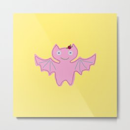 Blush Pink Bat Metal Print