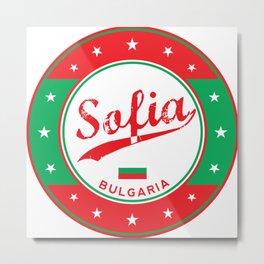 Sofia, Bulgaria, circle, white, with flag Metal Print