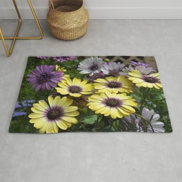 Yellow and Purple African Daisies Rug