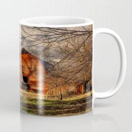 Red Barn - Rustic Barn in Shadows on Fall Day in Oklahoma Coffee Mug