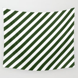 Large Dark Forest Green and White Candy Cane Stripes Wall Tapestry