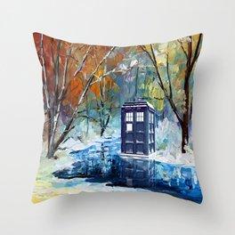 Starry Winter blue phone box Digital Art iPhone 4 4s 5 5c 6, pillow case, mugs and tshirt Throw Pillow