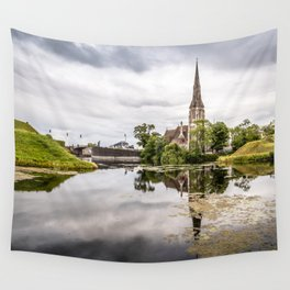 Church in Copenhagen reflections on lake at sunset Wall Tapestry