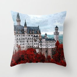 The Castle of Mad King Ludwig, Autumn, Neuschwanstein Castle, Bavaria, Germany landscape painting Throw Pillow