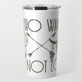 All Who Wander Are Not Lost Native American Dreamcatcher Arrows and Skull Travel Mug