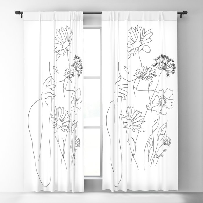 Minimal Line Art Woman with Flowers III Blackout Curtain