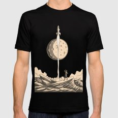 Rocket Moon Black Mens Fitted Tee MEDIUM