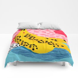 What It Is - memphis throwback banana fruit retro minimal pattern neon bright 1980s 80s style art Comforters