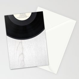 Black vintage vinyl record Stationery Cards