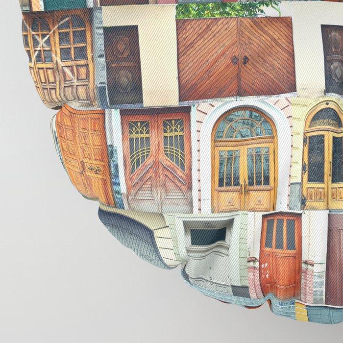 Collage of Kiev front doors,Ukraine Floor Pillow