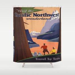 Vintage poster - Pacific Northwest Shower Curtain