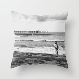 Surfer Boy at the Pier Throw Pillow