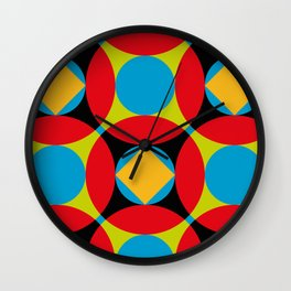 Very colorful circles, squares, intersections, geometrical fantasy. Wall Clock