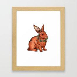 Flower Bunny Rabbit Framed Art Print