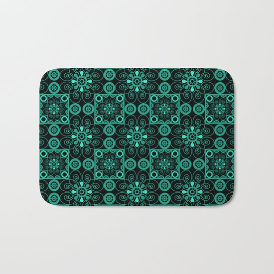 Turquoise and black pattern . Bath Mat