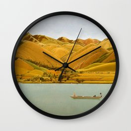 Edge of Abruzzi, Italy; boat with three people on lake by Winifred Knights Wall Clock