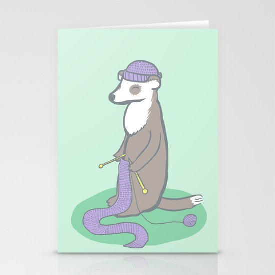 Knitting Ferret Stationery Cards