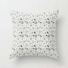 Doodle Birds Seamless Patterns Throw Pillow