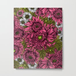Pink and white chrysanthemum flowers and green bettles Metal Print