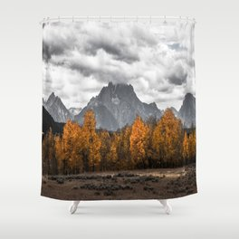 Teton Fall - Autumn Colors and Grand Tetons in Black and White Shower Curtain