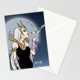 Kiss of Death - Evil Queen Blowing Kisses (Skulls with Wings) Stationery Cards