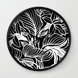 Black White Floral Minimalist Wall Clock