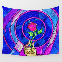 Beauty And The Beast Red Rose Flower Wall Tapestry