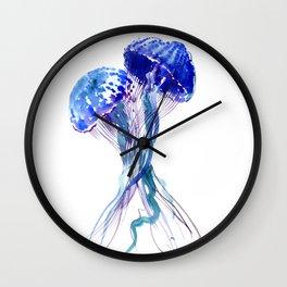 Jellyfish, Aqua Blue Marine Beach Art Wall Clock
