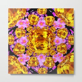 Golden Topaz Gems &  pink roses Art Metal Print