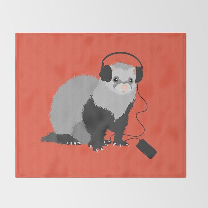 Music Loving Ferret Throw Blanket