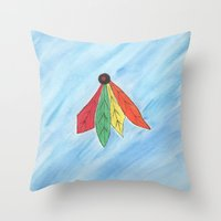 blackhawks Throw Pillows featuring Feathers by Smash Art