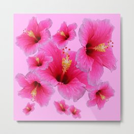 GIRLY TROPICAL PINK HIBISCUS ART Metal Print