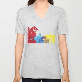 Ljubljana skyline pop Unisex V-Neck