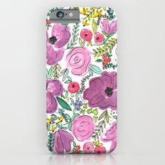 Purple Floral Design - Watercolor Painting  iPhone 6s Slim Case