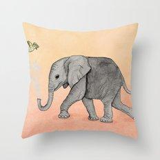 Elephant and the Bird Throw Pillow