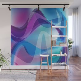 Blue And Purple Wavy Swirl Hippie Abstract Design Wall Mural