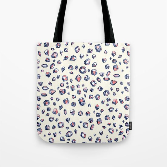 Navy & Coral Crystals Tote Bag