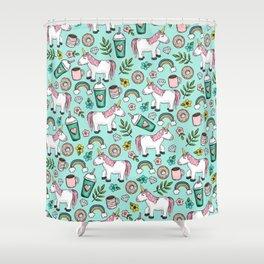 Unicorn Emoji Art Print, Frappuccino, Donuts, Blue and Pink, Girl Print, Tween Print Shower Curtain