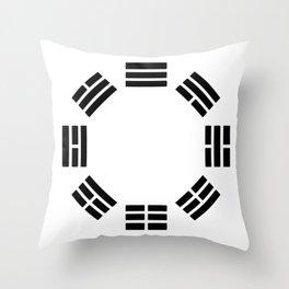 Black Hexagon I ching Feng Philosophy Throw Pillow