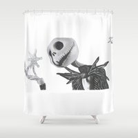jack skellington Shower Curtains featuring Jack Skellington by DΔZΞD.