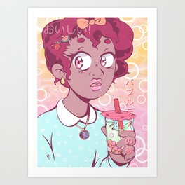 Bubble Tea Dreams Art Print